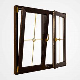 پنجره دو لنگه بازشو با وادار ثابت
